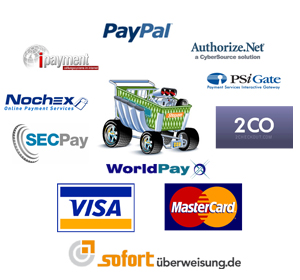 Paypal, SecPay, sofortüberweisung, Visa, Mastercard, Chronopay, Authorize, 2CO, iPayment, NOCHEX, PayQuake, 2CheckOut, PSiGate, WorlPay, Lastschrift, Nachname, Kreditkarte